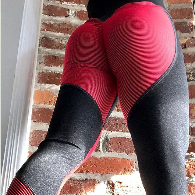 ff0a6a0620 New Sexy Heart Shaped Striped Printed Patchwork Leggings Push Up Hips Women  Fitness Yoga Leggings High Waist Sport Yoga Pants