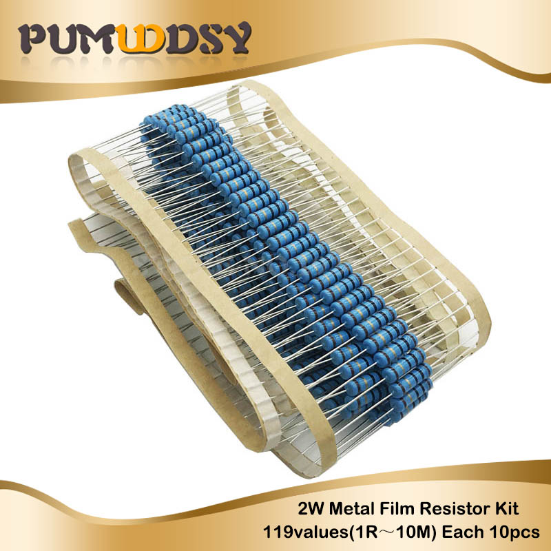 1190PCS 2W Full seriesMetal Film Resistor Kit 1 Resistor Assorted Kit Set 1 ohm 1M ohm