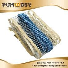 1190PCS 2W Full seriesMetal Film Resistor Kit 1% Resistor Assorted Kit Set 1 ohm 1M ohm Resistance Pack 118 Values Each 10pcs