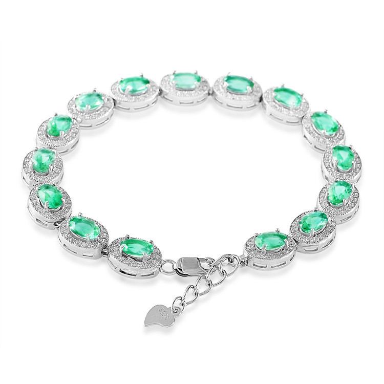 Natural Emerald 925 Sterling Silver beautiful chain link bracelet Woman Girl birthday gift Birthstone crystal Fine jewelry