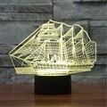 7 Que Cambia de Color Velero Bulbificación 3D Visual LLEVÓ La Lámpara de Iluminación Lámpara de Mesa de La Novedad de Juguete Para Niños Regalos de Navidad Luz de La Noche 3D-TD175