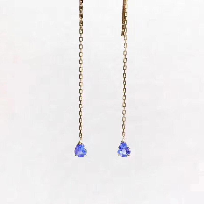 ANI 18k Yellow Gold Women Tanzanite Dangle Earrings 0 35 ct Pear Cut Tanzanite Drop Earrings