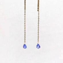 ANI 18k Yellow Gold Women Tanzanite Dangle Earrings 0.35 ct Pear Cut Drop Bridal Wedding Brincos Jewelry