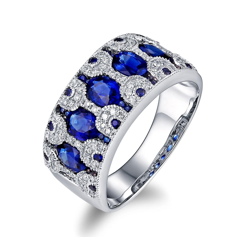 CaiMao 14KT/585 White Gold 0.27ct Round Cut Diamond 1.8ct Blue Sapphire Engagement Gemstone Wedding Band Ring Jewelry