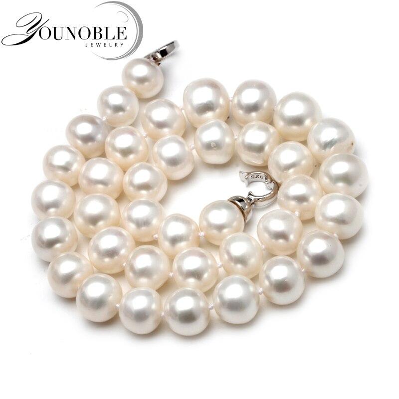12-13mm collier de perles d'eau douce naturelles rondes femmes, ethnique bon lustre perle perle collier Chocker mère cadeau anniversaire