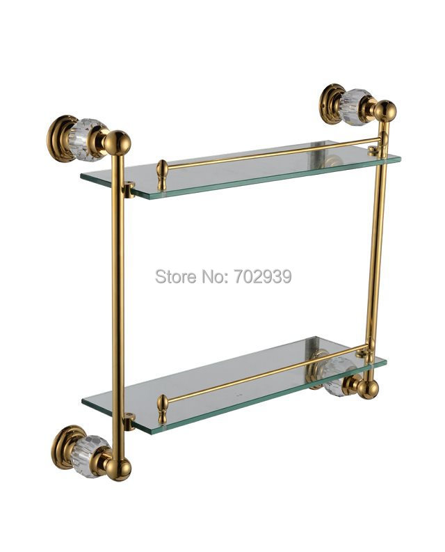 FREE SHIPPING new design 24k gold Crystal double glass shelf