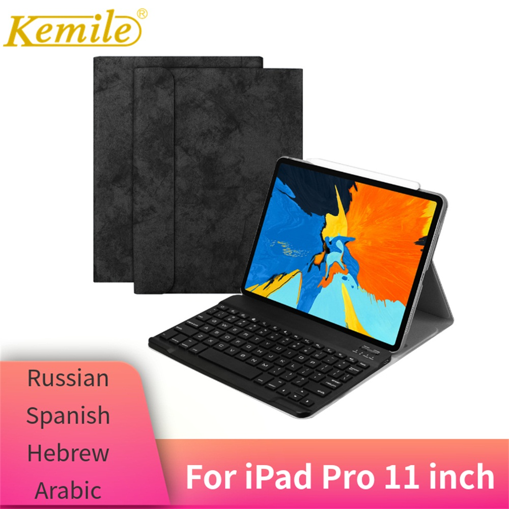 For iPad Pro 11 Case W Wireless Bluetooth Keyboard Leather Protective smart Cover For iPad Pro