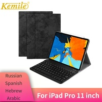 For iPad Pro 11 Case W Wireless Bluetooth Keyboard Leather Protective smart Cover For iPad Pro 11 2018 Keypad Russian Keyboard