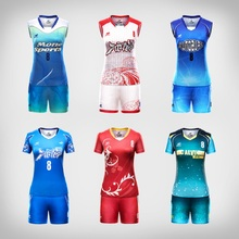 Women Men Volleyball Uniform Sports Suit Female Can Custom Sublimation Breathable Volley Ball Clothing Jersey