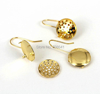 Blank Clip Hook Earrings Bases Round Prong pins Filigree Bezel Ear Wires Settings Findings Crafts Making Golden tone 12mm - 20mm