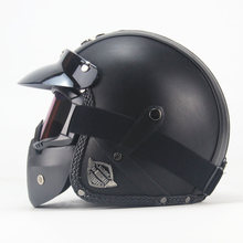 Free shipping PU Leather Harley Helmets 3/4 Motorcycle Chopper Bike helmet open face vintage motorcycle with goggle mask