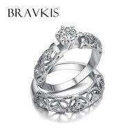 BRAVKIS New Cubic Zircon Bridal Ring Set Platinum Wedding Engagement Band Cz Diamond Womens Hollow Rings