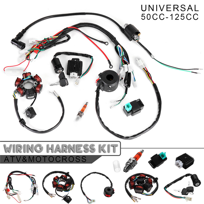 8 in 1 motorcycle ignition 125cc 150cc 250cc complete wiring harness cdi  stator 6 coil pole