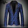 Azul Royal Blazer Homme Padrão Impresso Lábios Stager Desgaste Para cantor de Luxo Slim Fit Mens Blazer de Tweed New Arrivals 2016 M-4XL