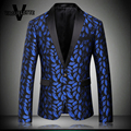 Royal Blue Blazer Homme Printed Pattern Lips Stager Wear For Singer Luxury Slim Fit Tweed Mens Blazer New Arrivals 2016 M-4XL
