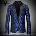Royal Blue Chaqueta Homme Patrón Impreso Labios Stager Desgaste Para cantante de Lujo Slim Fit Hombres Chaqueta De Tweed Nuevas Llegadas 2016 M-4XL