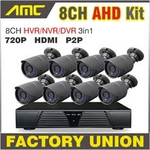 2017 New 8 Channel Full AHD DVR 720P HD IR-CUT Weatherproof CCTV 8ch Channel DVR Kit Home video surveillance Security system
