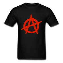 Anarchy Symbol Tshirts Freedom and Democracy Summer/Fall Tops Tees Short Sleeve Cotton Printed Tee-Shirt Birthday Gift Man