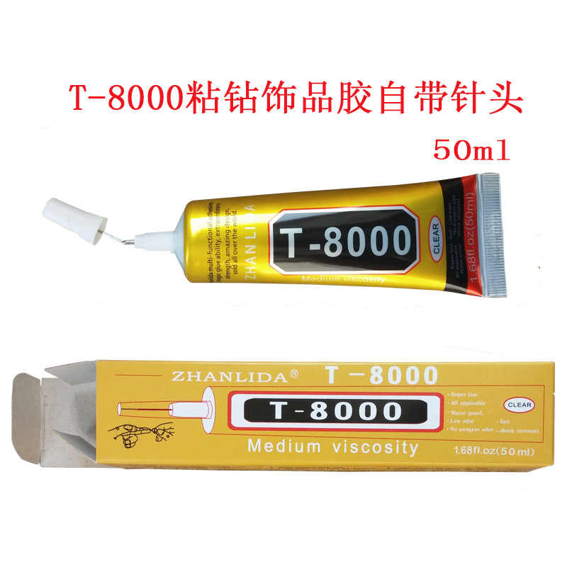 50ml T8000 needle type mobile phone screen clear glue DIY craft jewelry drill beauty drill epoxy resin adhesive Wholesale