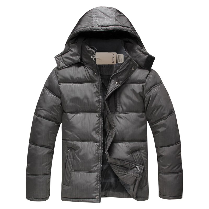 WAEOLSA Middle Aged Man Hooded Puffer Basic Coat Gray Black Quilted Overcoat Men Hood Puff Padded Parkas Father Wadded Jacket XL women s new winter quilted jacket chunky puffer coat full zip spliced sweater hood padded outwear with knit sleeve