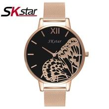 SKstar Femmes Montre De Luxe Marque Mode Casual Dames Montre En Or À Quartz Simple Horloge Relogio Feminino Reloj Mujer Montre Femme