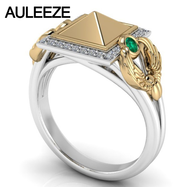 Pyramid 10K Two tone Yellow White Gold Engagement Ring Emerald