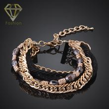 Christmas Gift Personalized Hand Chain Fashion Multi Layer Female Braclets Gold Color Crystal Chain Bracelet for Women Party