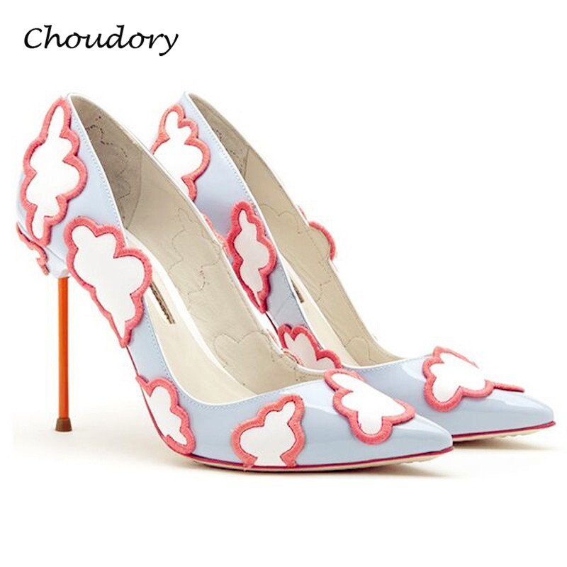 Choudory Sweet Thin High Heels Woman Pumps Plus Size Spring Autumn Pointed Toe Party Zapatos Mujer Tacon Attractive Woman Shoes new 2017 spring summer women shoes pointed toe high quality brand fashion womens flats ladies plus size 41 sweet flock t179