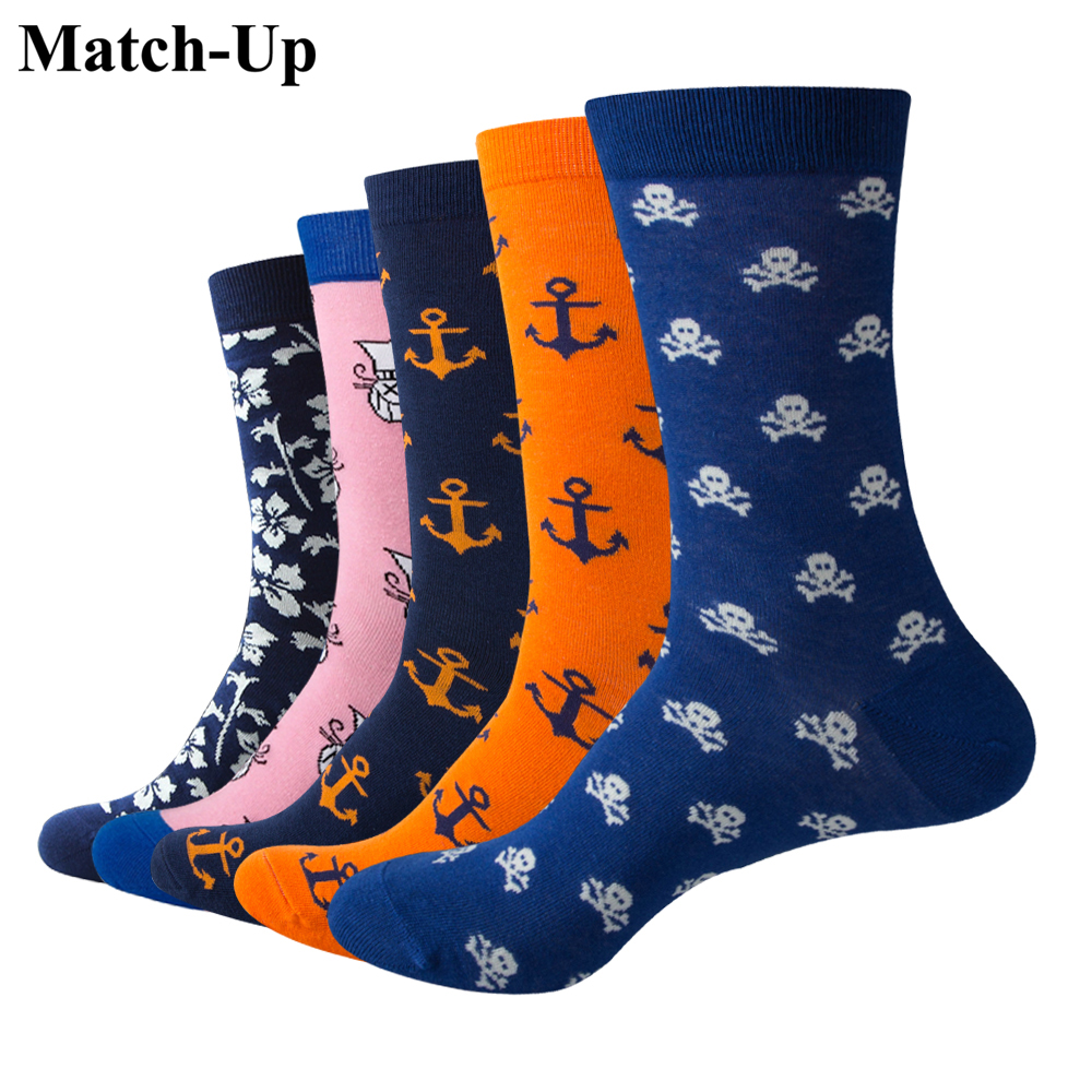 Us 7.5-12 Crazy Price 5 Pairs/lot Temperate Match-up Fashion Men Playful Cartoon Cotton Socks Argyle Casual Crew Socks