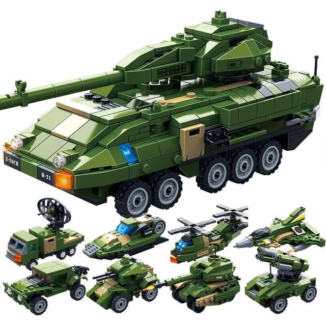 655 pcs Militar série WW.2 8 Guerra Mundial em 1 Stryker veículo de combate Blindado Modelo de Blocos de Construção de Brinquedos Para crianças presentes