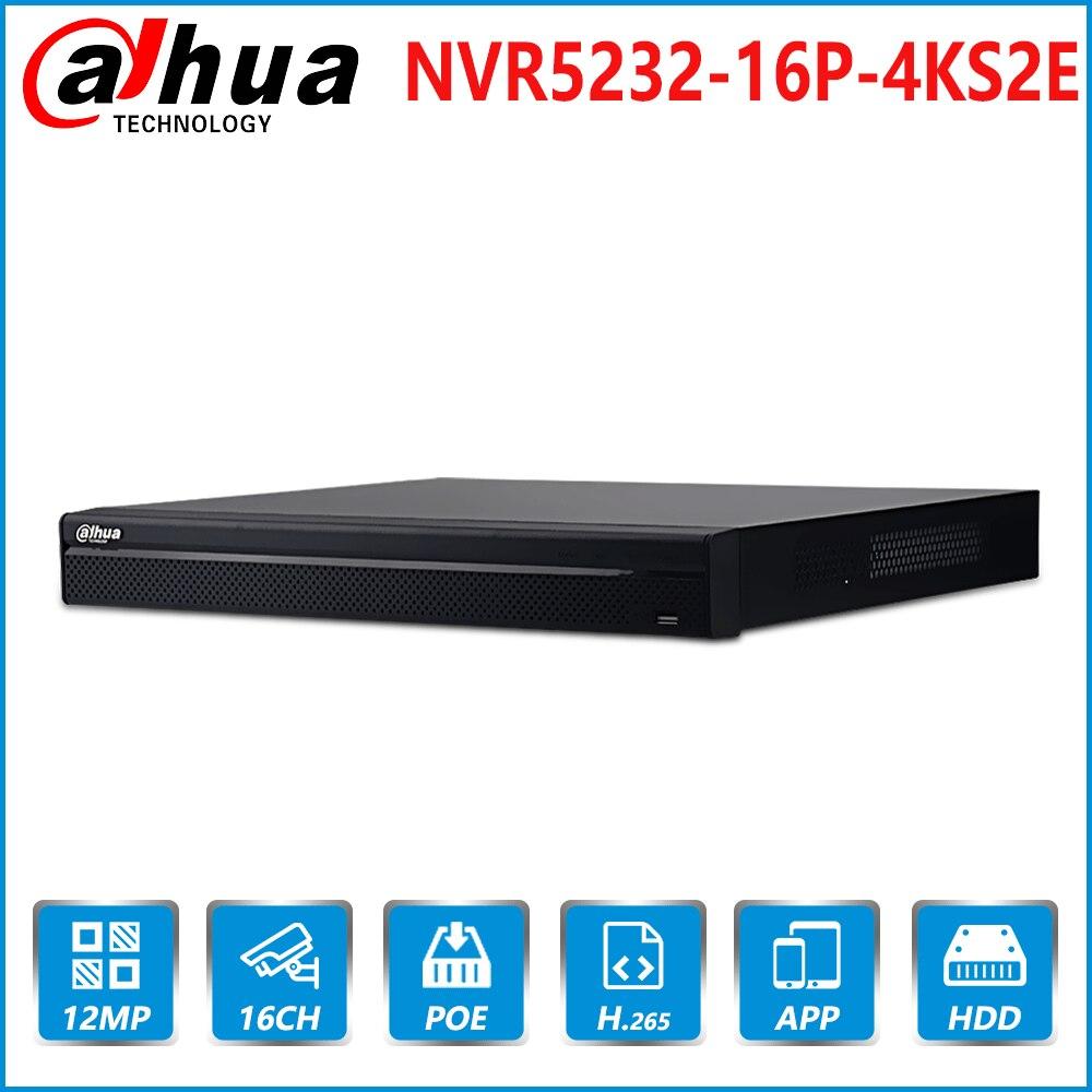 Dahua nvr NVR5216-16P-4KS2E com 16ch nvr 16 porta poe suporte em dois sentidos falar e-poe rede vídeo dahua gravador para sistema de cctv