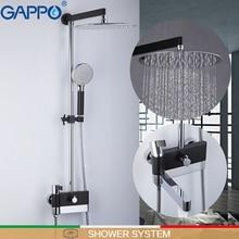GAPPO Sistema de ducha mezclador de pared para baño, Sistema de ducha de baño de lujo, cromo pulido y negro