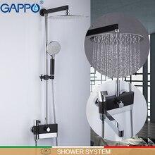GAPPO シャワーシステム壁浴室の蛇口のミキサー高級浴室のシャワーシステムクロームポリッシュと黒シャワー蛇口