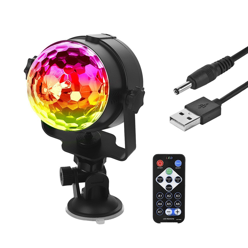 RGB LED Crystal Magic Rotating Ball Stage Light Sound Activated USB 5V Colorful ktv DJ disco Party Laser Stage Effect Light 6w e27 led stage light rgb lamp with voice activated mp3 projector crystal magic ball rotating disco dj party stage lighting