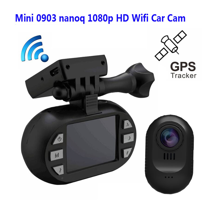 Livraison Gratuite!! D'origine Mini 0903 nanoq 1080 p HD Wifi Voiture Dash Cam Condensateur 7G Nuit Vision NT96655 IMX322 GPS