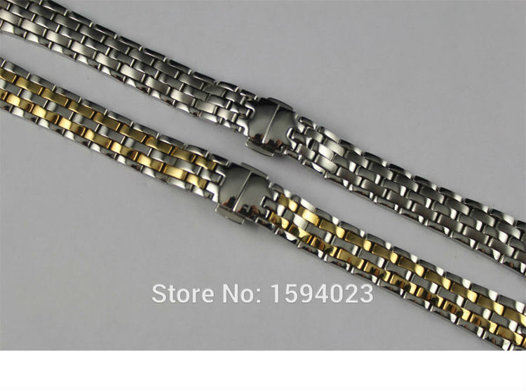 14mm T97 T031210A R423 NEW Pure Solid Stainless steel Watchband Watch Strap Gold plating Bracelets For T97 T031 Free shipping
