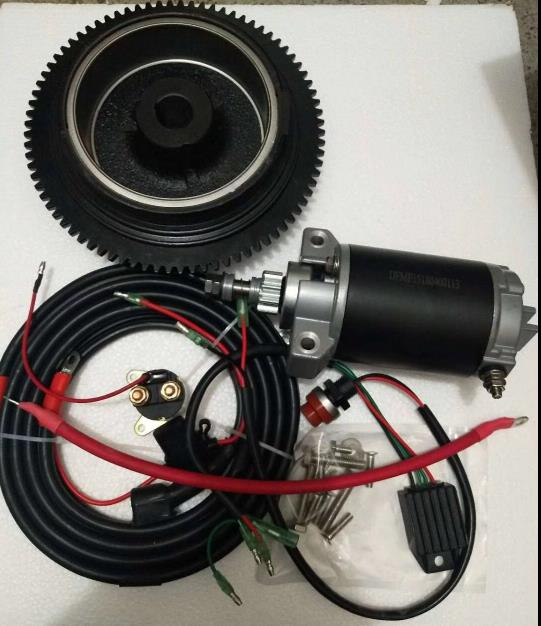ELECTRIC START KIT FOR YAMAHA PARSUN HIDEA POWERTEC PIONEER JINHUA F15 F18 & MORE 4 STROKE 246CC 15HP 18HP OUTBOARDS MARINE SAIL