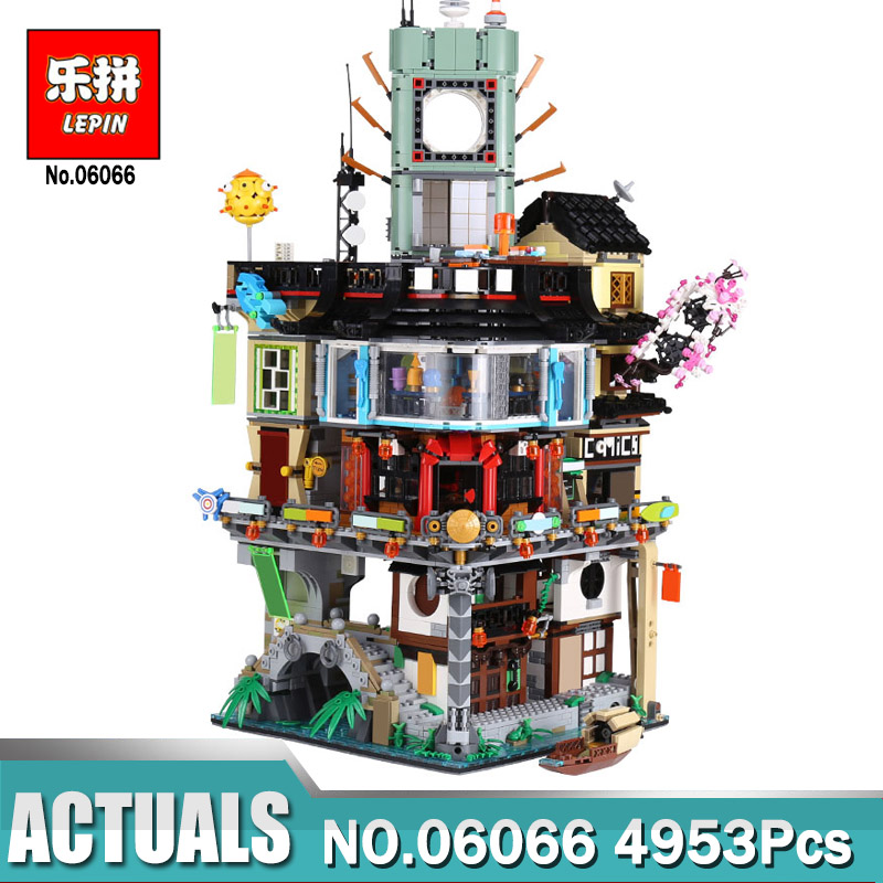 Lepin 06066 Ninjago City Masters of Spinjitzu Building 4953pcs Blocks Bricks Toys Compatible LegoINGly 70620 As Christmas gift lepin 02012 city deepwater exploration vessel 60095 building blocks policeman toys children compatible with lego gift kid sets