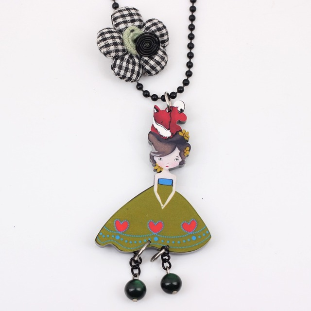 Bonsny girls doll handmade necklace pendant acrylic  2015 news accessories spring summer cute design girls woman fashion jewelry