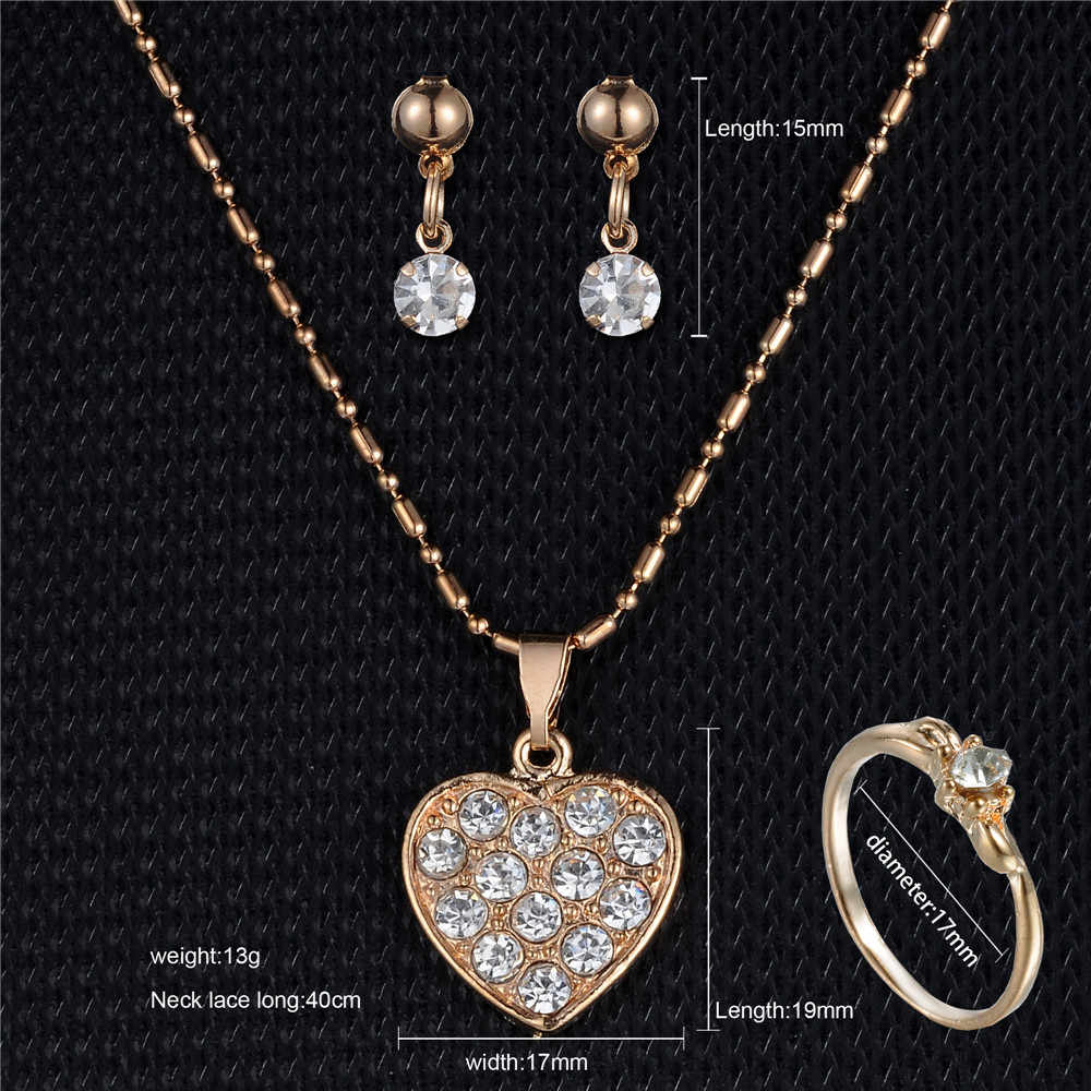 Heart Pendant Necklaces Rhinestone Earring Rings Jewelry Set For Women Wedding Party Girl bride Gift Engagement Jewelry