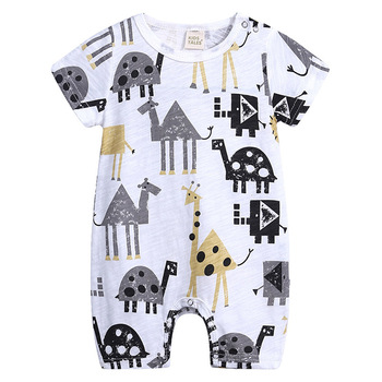 2019 Cartoon Baby Onesies Summer Cotton Romper Boy Girls 0-24 Months Kids Clothes Knitted Cartoon Short-sleeved Jumpsuit Outfits 1
