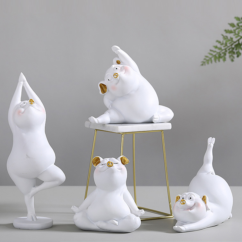 Europe 12 patterns Cute Yoga pig figurines tabletop ceramics handicrafts home decoration accessories Creative Wedding Gifts