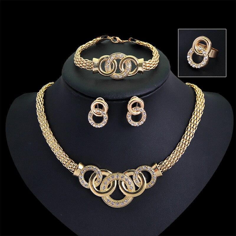 2d515a1a96fd 18 K Rose Rose oro aretes collar de la joyería accesorios anillo de pulsera  de oro collar piedra Natural collar collar de canal en Sistemas de la  joyería de ...