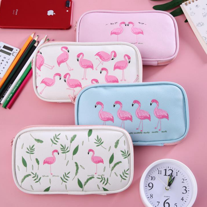 Flamingo Pencil Case For Girls Kawaii School Pencil Case Bag Multifunction Big Large Capacity Pen Box School Supplies Stationery big capacity high quality canvas shark double layers pen pencil holder makeup case bag for school student with combination coded lock