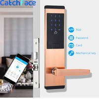 App Wifi Bluetooth Door Lock, Smart Home Keyless Password Lock Pin Code, Security Electronic Door Lock Red Bronze color