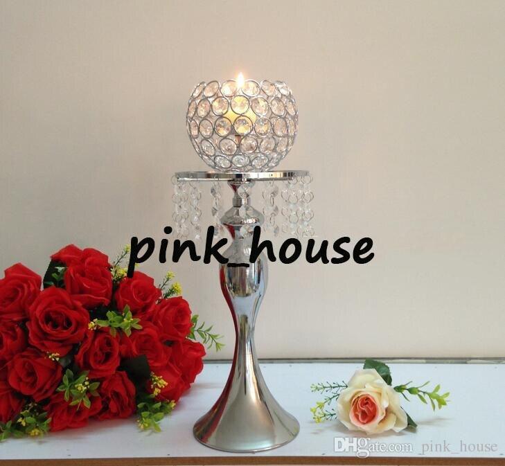 Bougeoir en cristal élégant pas cher candélabre en métal plaqué argent pour la maison de mariage pièce maîtresse décoration bougie stand candélabre