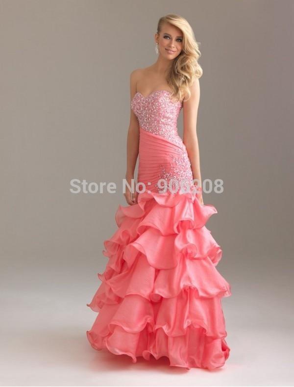 2015 Hot sale beautiful Organza Sweetheart Strapless Neckline Mermaid   Prom     Dress   with Ruffle Skirt custom made free shipping