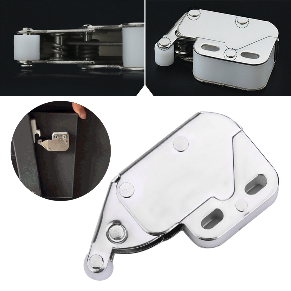 Mini Push Spring Clip Lock Catch Latch Cabinets Anti-Theft Cupboard Doors Lock With Cross Keys For Furniture Hardware  34 X 27mm