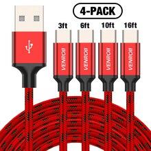 4 팩 USB 유형 C 케이블 삼성 갤럭시 노트 9 S10 S9 S8 1.2m 2m 3m 5m 빠른 충전 와이어 휴대 전화 Kable 샤오미 Redmi