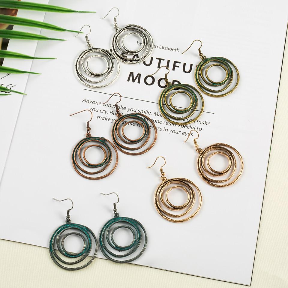 Spiral Round Boho Ethinic Dangle Drop Earrings Hanging for Women Vintage Bohemian Style Jewelry Fashon Women's Earrings 2018(China)